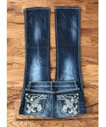 Women's Rock 47 Wrangler Embellished Denim Jeans Low Rise Boot Cut Stret... - $32.62