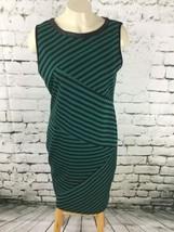 Spense Sz 8 Dress Green Striped Sleeveless Straight Pencil Sheath Expose... - $19.79