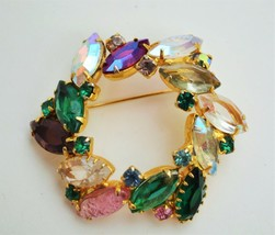 Vintage end of day multicolor art glass rhinestone wreath brooch domed p... - $17.81