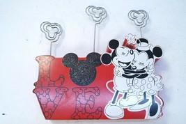 2013 Disney Mickey & Minnie Wood Photo/Note Holder Love Red Valentines Day Gift - $14.49
