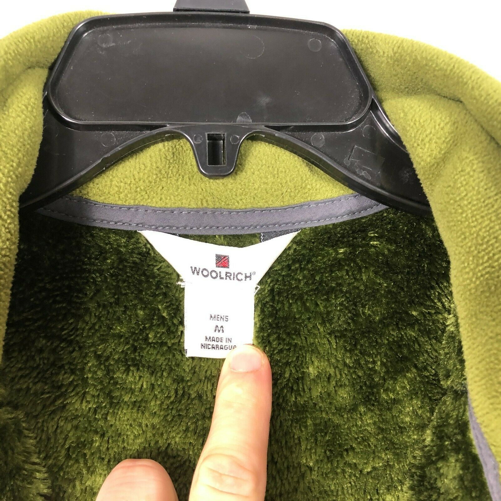 WoolRich Pile Fleece Jacket 1/2 Zip Men's M Green Long Sleeve Faux Fur Lined image 6