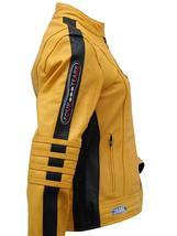 Womens The Bride Kill Bill Uma Thurman Biker Yellow Leather Jacket image 3