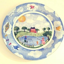 "NIKKO ""Remember When"" Dinner Plate by Deb Mores Children Fishing Farm Li... - $15.07"