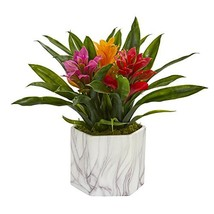 Nearly Natural 8139-AS Bromeliad Artificial Marble Finished Vase Silk Pl... - $67.27