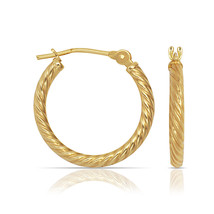 14K Yellow Gold Twisted Rope Style Snap Closure Hoop Earrings 12mm,14mm,... - $322.12+