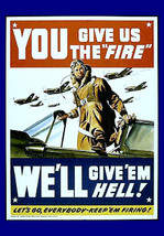 "11x14"" Cotton Canvas Print, You Give Us the Fire, Pilot, Plane, Military... - $23.99"