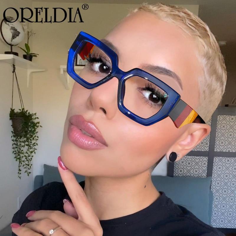 Polygonal glasses frame women european and american three color frame flat glasses men s glasses