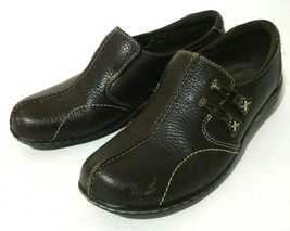Clarks Bendables Womens Shoes Size 8 M Brown Leather Slip On Walking Com... - $23.38