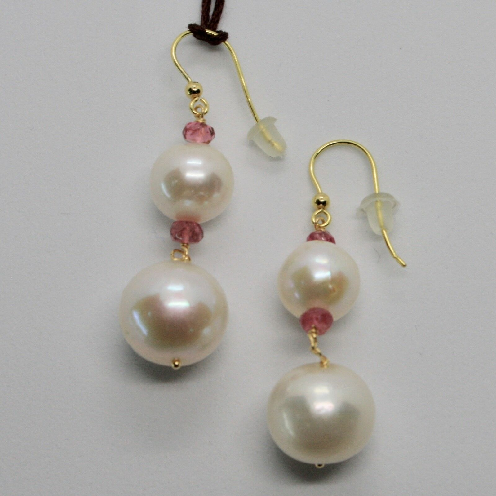 Yellow Gold Earrings 18K 750 Pearls Water Dolce Tourmaline Pink Made in Italy