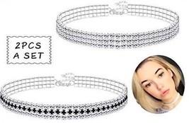 Finrezio 2 PCS 3 Row Rhinestone Choker Necklace For Women Crystal Neckl... - $25.38