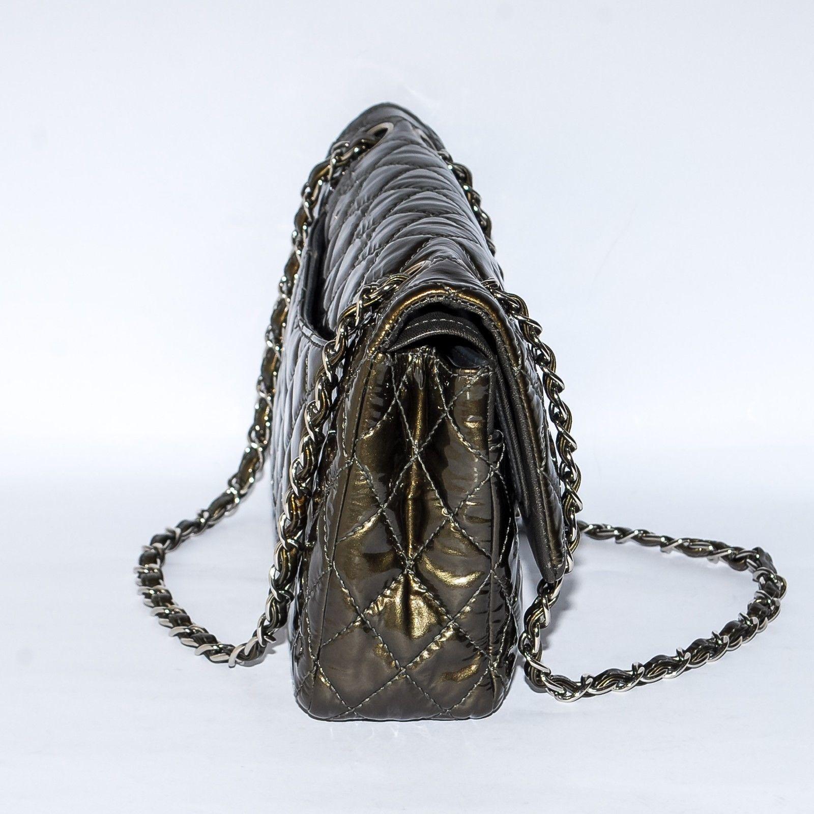 3e4063efc323 CHANEL 2.55 Khaki Double Flap Quilted Patent Leather Handbag Chain Shoulder  Bag