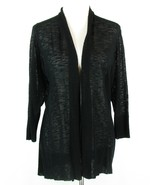 COLDWATER CREEK Size 1X (16W-18W) Black Lightweight Draped Open Cardigan... - $19.99