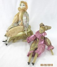 Musical Harlequin Figures Porcelain LOT-2 Sitting Mardi Gras Jester Clowns - $13.33