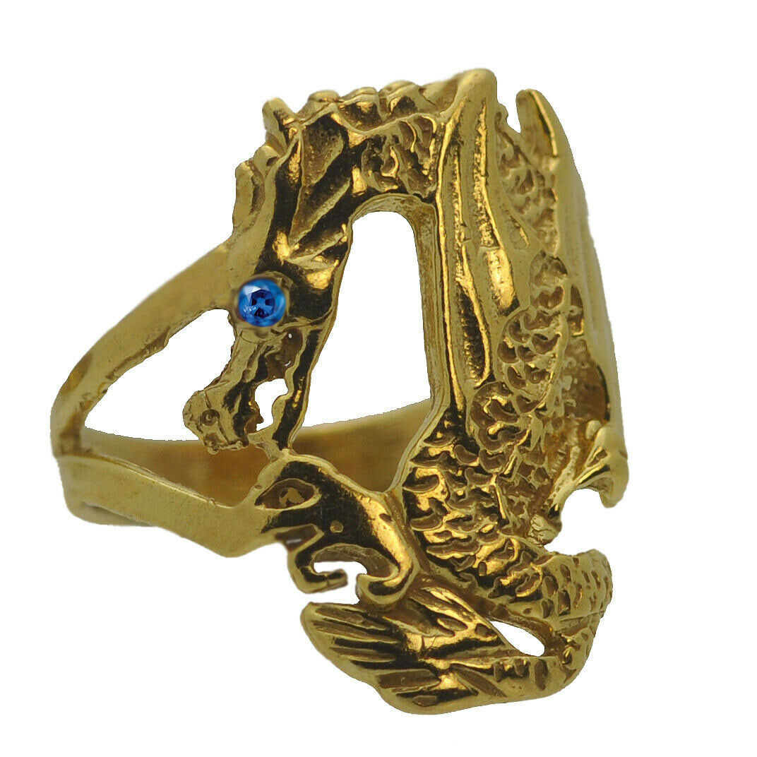 24K Gold Plated Baby Dragon Wrapped / grab your finger Ring Jewelry Sapphire Eye