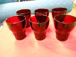 Great Collection 6 Vintage Royal Ruby Red Glasses.............Sale - $11.88