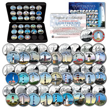 Historic American LIGHTHOUSES Colorized U.S. State Quarters 28-Coin Set ... - $74.76