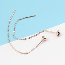 Ear Thread Series 18k Rose Gold Mesh Chain Heart Dangle Earrings image 4