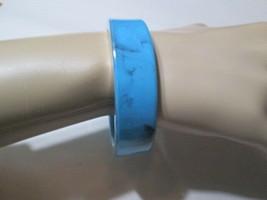 FAUX TURQUOISE MARBLED LIGHT BLUE W SILVER METALLIC TRIM VINTAGE BANGLE ... - $16.00
