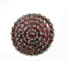 Victorian Genuine Natural Bohemian Garnet Rosette Pin (#J307) - $300.00