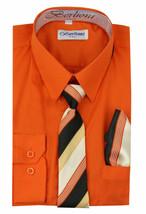 Berlioni Italy Kids Boys Long Sleeve With Tie & Hanky Dress Shirt Set Orange