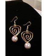 Spiral heart lavendar pearl earrings - $22.00