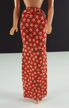 Barbie Clone Red w/ White Daisies Long Fitted Maxi Skirt 1970s Clothing - $14.84