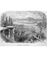 WISCONSIN RIVER Slate Stand Rock Formations - 1883 German Print - $14.40