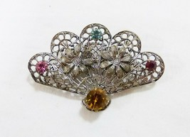 Vintage jeweled floral fan brooch filigree pin silver tone - $21.12