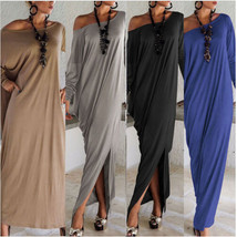 Bohemian Style Women Long Sleeve Split Loose Asymetrical Hem Maxi Dresses  - $79.99