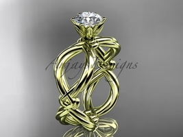 Rope engagement ring, 14kt yellow gold twisted rope wedding ring RP8192 - $775.00