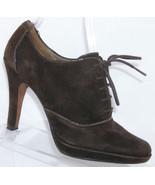 Circa Joan & David Sage brown suede lace up oxford platform bootie heels... - $37.08