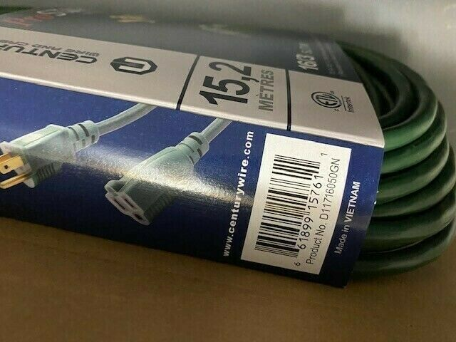 Milspec 16-AWG PRO QUALITY Extension Cord ( Green, 50' ) BRAND NEW With Tags