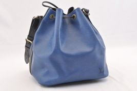 LOUIS VUITTON Epi Petit Noe Bicolor Shoulder Bag Blue/Black M44152 LV Au... - $270.00