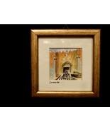 Original Miniature Watercolor Jerusalem Damascus Gate  Framed, Linen Mat... - $4.99