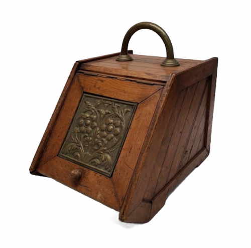 Vintage Antique Oak Wood Box Lid Scuttle Ash Coal Fireplace Liner Hearth Storage