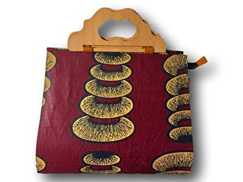 Primary image for Large African Fabric Tote Bag (Burgundy/Tan)
