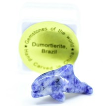 Dumortierite Gemstone Tiny Miniature Dolphin Stone Figurine Hand Carved China