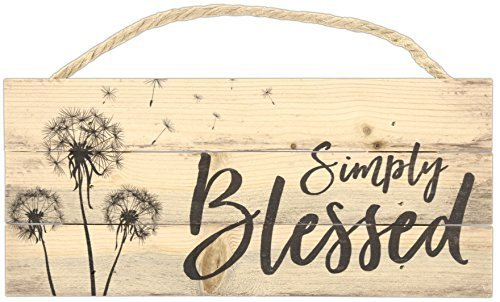 Simply Blessed Dandelion 10 x 4.5 Inch Pine Wood Decorative Hanging Sign