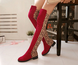 pb198 trending flock stitching over knee boots, low heels US Size 4-11, red - $78.80