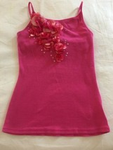 Girls Size 10 Justice Solid Pink Satin & Tulle Flowers Cami Tank Top Shelf Bra - $12.00