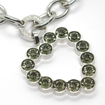 REBECCA BRONZE BRACELET, BIG HEART PENDANT GRAY CRYSTALS, BWSBBN27 MADE IN ITALY image 2