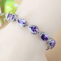 Charming Purple Zircon 925 Sterling Silver Bracelet Health Fashion  Jewelry For  - $13.37