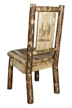 Amish Made Dining Chairs LOG CHAIR Laser Engraved Back Bear Wolf Rustic ... - $339.00