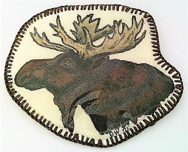 Primary image for Hand Painted Moose Head Artistic Brooch