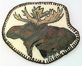 Hand Painted Moose Head Artistic Brooch - $10.10