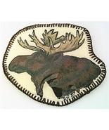 Hand Painted Moose Head Artistic Brooch - $10.10