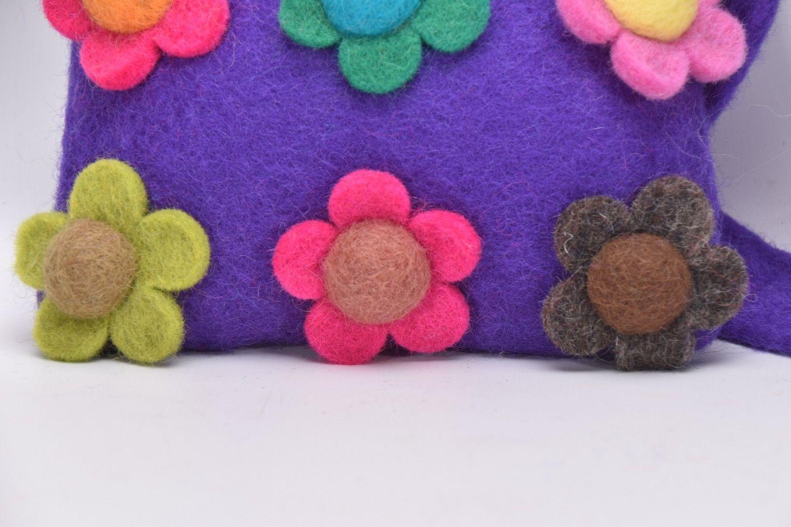 Flower Purse hand Carry Bag Handmade wool Different colour Flower bagpurse Nepal