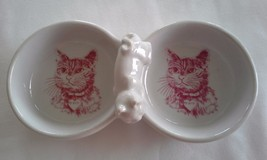 Vintage White Ceramic Double Kitty Dish for Fluffy - $24.00