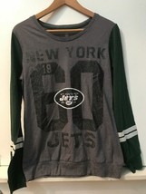 Womens NFL Juniors New York Jets long sleeve Top green/gray size L 11/13 NWT - $18.95