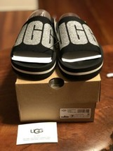 UGG Women's Zuma Metallic Graphic Slide Sandal 1101558 Sz 7 Black - $53.20